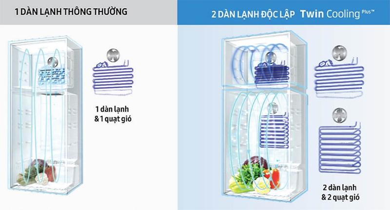 Hai dàn lạnh độc lập Twin Cooling Plus giúp giữ độ ẩm ổn định, làm lạnh nhanh, không lẫn mùi