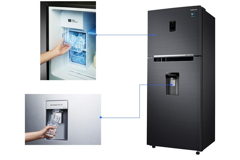 Tiện lợi hơn với tính năng làm đá tự động và lấy nước lạnh bên ngoài không cần mở tủ