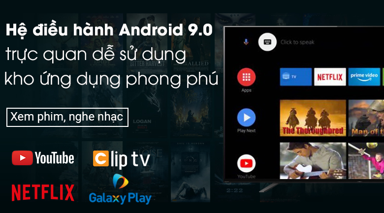 Android Tivi OLED Sony 4K 55 inch KD-55A8H - Hệ điều hành Android 9.0