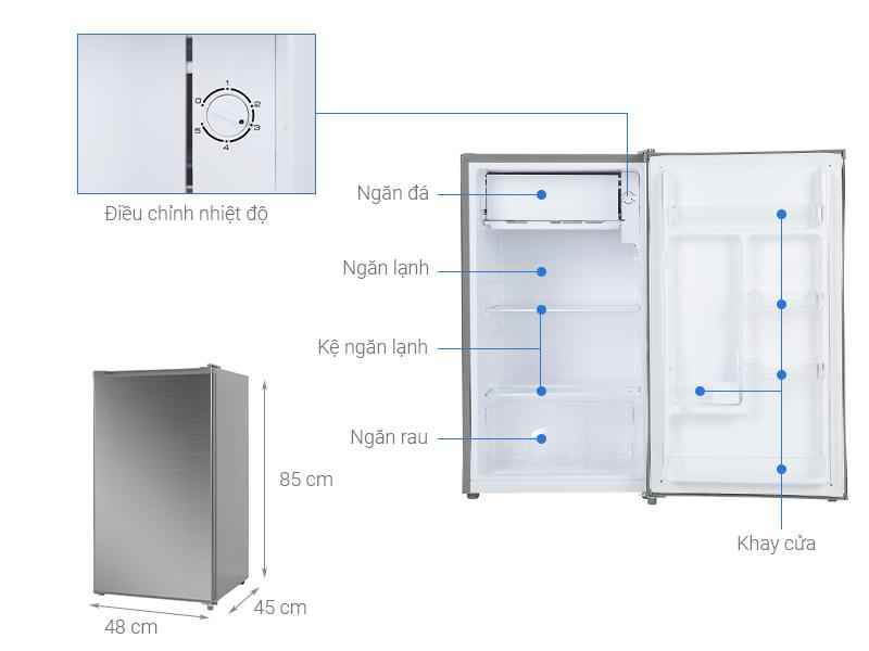 Thông số kỹ thuật Tủ lạnh Beko 93 lít RS9051P