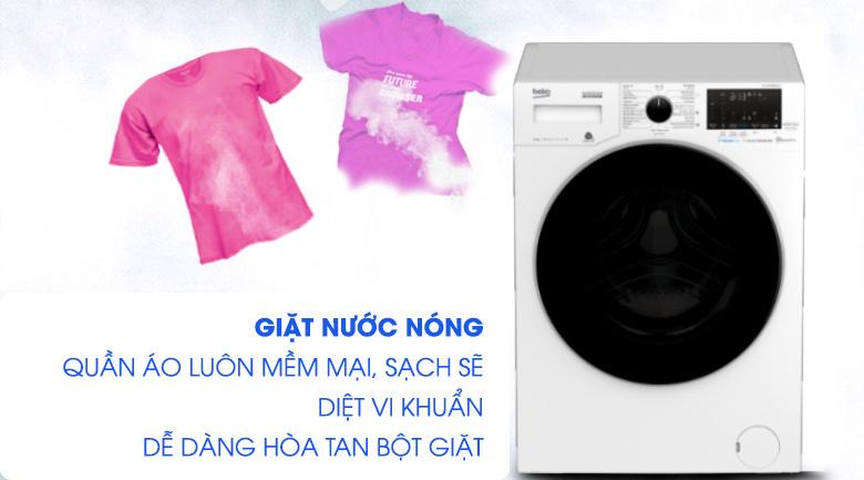 Giặt nước nóng-Máy giặt Beko Inverter 10 kg WCV10749XMST