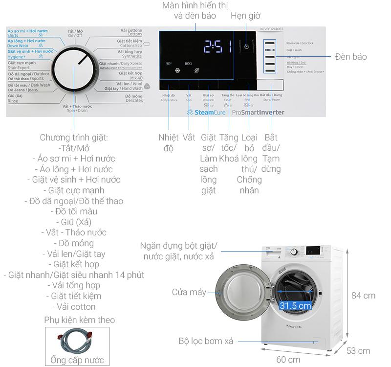 Thông số kỹ thuật Máy giặt Beko Inverter 8 kg WCV8612XB0ST