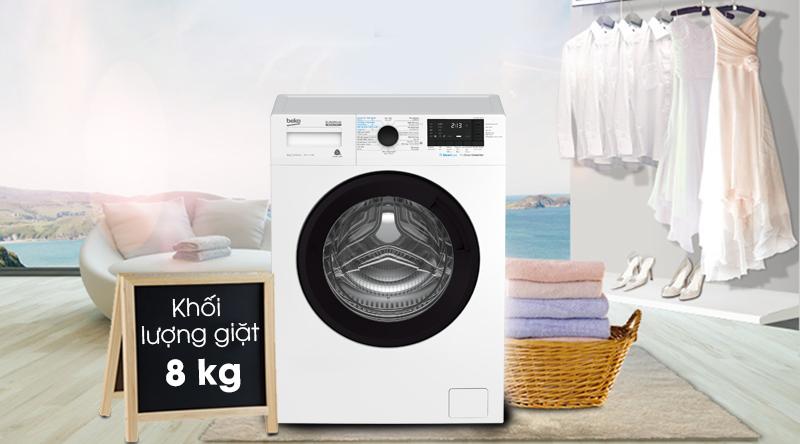 Máy giặt Beko Inverter 8 kg WCV8612XB0ST-Khối lượng giặt 8 kg, phù hợp gia đình trên 4 người