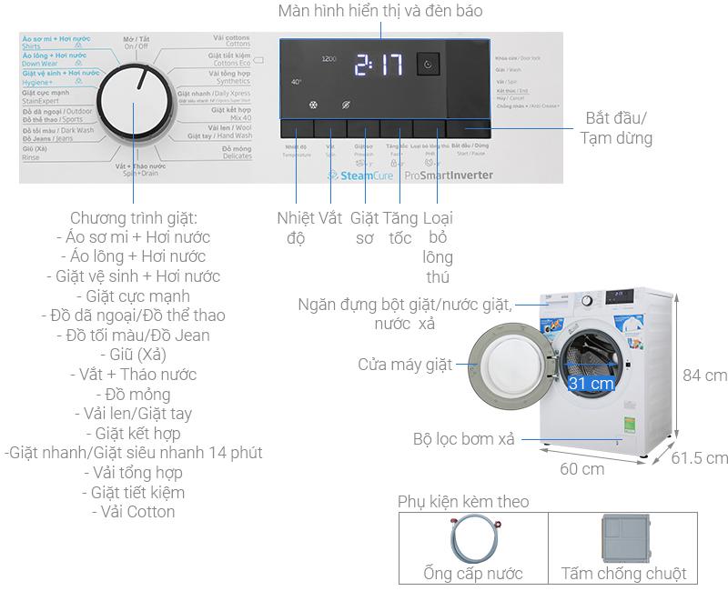 Thông số kỹ thuật Máy giặt Beko Inverter 10 kg WCV10612XB0ST