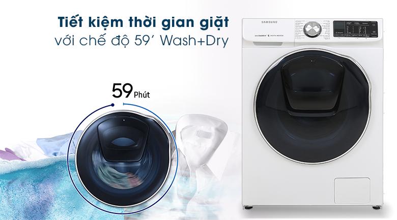 Máy giặt sấy Samsung AddWash Inverter 10.5 kg WD10N64FR2W/SV - Giặt sấy 59 phút