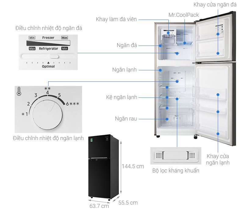 Thông số kỹ thuật Tủ lạnh Samsung Inverter 208 lít RT20HAR8DBU/SV