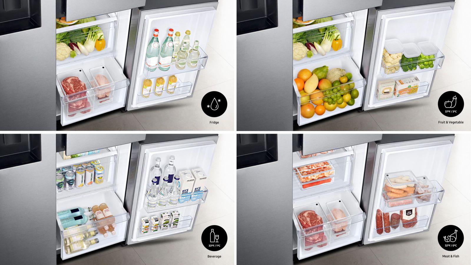 Tủ lạnh Samsung Inverter 650 lít RS65R5691B4/SV - Ngăn đa năng Flexzone™ với 4 chế độ làm mát linh hoạt